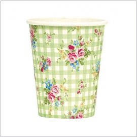 Molly`s Garden von GreenGate<br>Pappbecher Roseberry green(10tlg