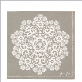 GreenGate Papierserviette Lace warm grey